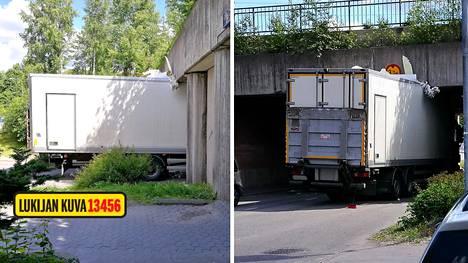 Onnettomuus sattui Helsingin Pukinmäessä.