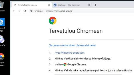 Uuden Chromen välilehdet ovat näyttävät pyöristetyiltä selaimen uuden designin myötä. Kuvakaappaus Chrome 69:n betaversiosta.