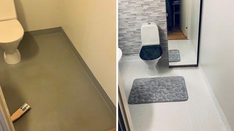 Helsingissä asuva Rauno Jyrise toteutti vessan pintaremontin edullisesti sisustusmuovilla. Vessaan hankittiin myös tyyliin sopiva matto ja kaappi.