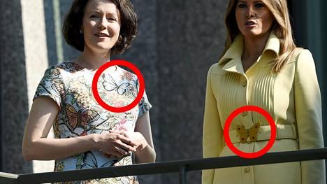 Rouva Jenni Haukion ja Melania Trumpin asukokonaisuuksissa oli samanlainen perhosyksityiskohta.