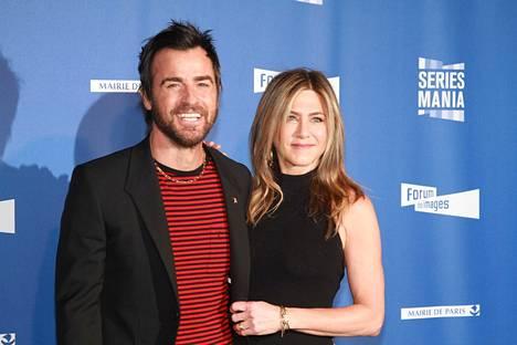 Jennifer Aniston ja Justin Theroux olivat naimisissa muutaman vuoden ajan. Kuvassa pariskunta huhtikuussa 2017.