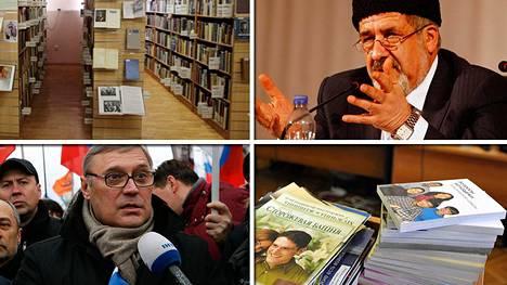 Kuvassa Moskovan ukrainalaisen kirjallisuuden kirjasto, Refat Chubarov (oik. ylä), Mihail Kasjanov ja Jehovan todistajien kirjallisuutta.