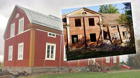 Hirsitalo Varpula on kokenut uskomattoman muodonmuutoksen. Kuvassa oikealla talo ennen pelastusprojektia.