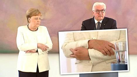 Liittokansleri Angela Merkel tärisi torstaina tavattuaan liittopresidentti Frank-Walter Steinmeierin Berliinissä.