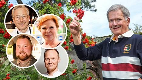 Julkkiskokit Jyrki Sukula, Maija Silvennoinen, Akseli Herlevi ja Heikki Liekola innostuivat presidentti Sauli Niinistön uudentyyppisestä kokkiohjelma-ajatuksesta.