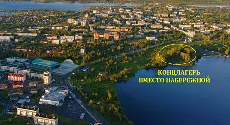 Kontupohjan ilmakuvaan on merkitty Äänisjärven rannalla paikka, johon keskitysleirimuseota alettiin jo pystyttää.