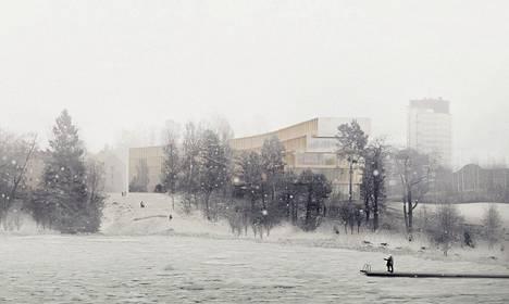 Talvinen havainnekuva uusista suunnitelmista.