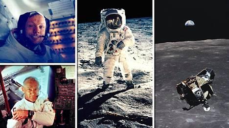 """Astronautit Neil Armstrong (vasen ylä) ja Edwin """"Buzz"""" Aldrin (vasen ala, keskellä) astuivat kuun kamaralle 47 vuotta sitten. Michael Collins odotti komento- ja huoltomoduulissa. Kuvassa oikealla kuumoduuli."""