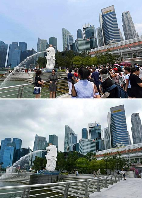 Kalan vartalosta ja leijonan päästä tuttu Merlion on Singaporen kuuluisimpia patsaita. Elokuussa 2019 patsaan edustalla oli vielä vilkasta.
