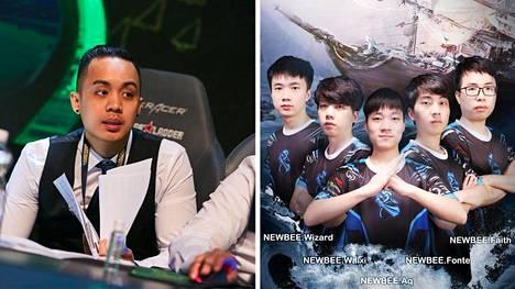 """Jimmy """"DeMon"""" Ho (vasemmalla), Newbee-joukkue sekä sitä edustaneet pelaajat (lukuun ottamatta kuvassa olevaa Xingyu """"Fonte"""" Laita, toinen oikealta) eivät saa pelata Dota 2:n uudistetussa DPC-sarjassa."""