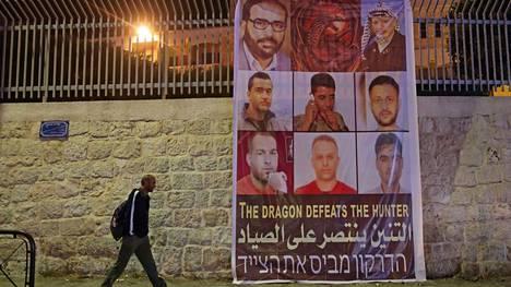 Kuuden paenneen palestiinalaisvangin etsintäkuulutus Länsirannan Betlehemin kaupungissa.