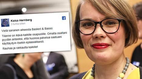 Helsingin vihreiden valtuustoryhmän puheenjohtaja Kaisa Hernberg pyytää käytöstään anteeksi.