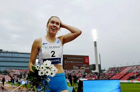 Nea Mattila voitti vuonna 2018 Ruotsi-ottelun 400 metrin aidat ennätyksellään 57,81.