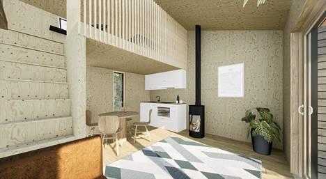 Villassa on erillinen nukkumaparvi, keittiö, oleskelutila, sekä varasto ja wc-tila.