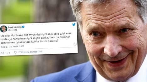 Mökkeilevä presidentti Sauli Niinistö kertoi Twitterissä ongelmasta, joka on monelle tuttu.