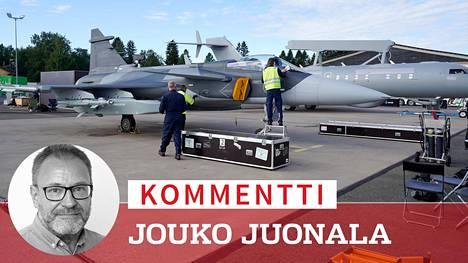 Saab esitteli Gripen-monitoimihävittäjää ja GlobalEye-valvontakonetta Kauhavan ilmailynäytöksessä elokuun lopussa.