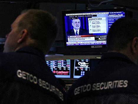 Fedin pääjohtajan Ben Bernanken puhetta katsottiin silmä kovana New Yorkin pörssissä.