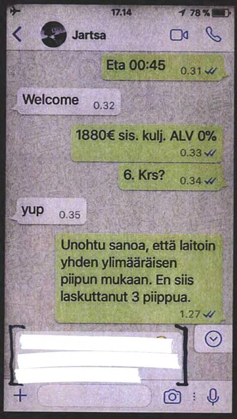 Poliisi löysi Jari Sillanpään huumediilerin kännykästä WhatsApp-viestejä, joissa laulaja sopii hänen kanssaan 10 gramman metamfetamiinikaupasta 22. elokuuta 2017.