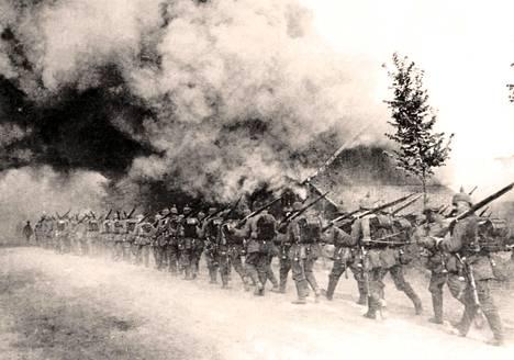 Saksalaisia joukkoja Verdunin taistelun aikana vuoden 1916 alkupuolella.