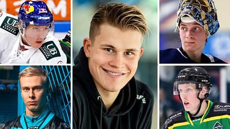 Jesse Puljujärvi (kesk.) on SM-liigan seuratuin pelaaja. Nuorten tähtien kaartiin kuuluvat myös Anton Lundell (ylh. vas.), Jesse Ylönen (alh. vas.), Daniil Tarasov (ylh. oik.) ja Lassi Thomson.