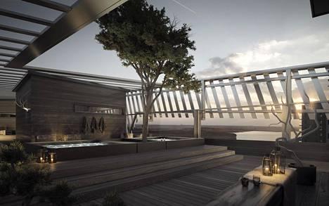 Uros Liven yhteydessä olevan hotellin katolle on tulossa kattoterassi ja saunoja.