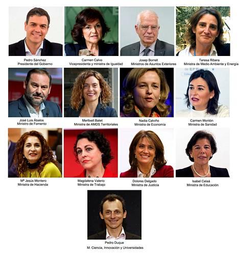 Tältä näyttää Espanjan uusi hallitus.