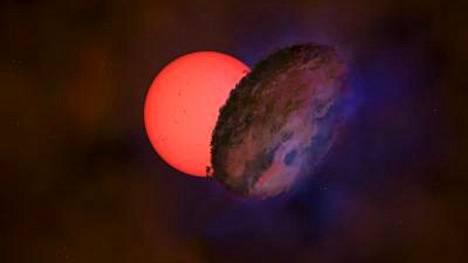Taiteilijan näkemys vilkkuvaksi jättiläiseksi nimitetystä VVV-WIT-08-tähdestä ja mystisestä taivaankappaleesta, joka jätti tähden kuukausiksi pimentoonsa.