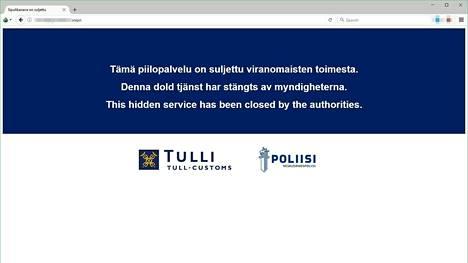 Salatussa internetissä toimiva Sipulikanava kopioineen on suljettu törkeän huumausainerikosepäilyn vuoksi. Kuvakaappaus sivulta.