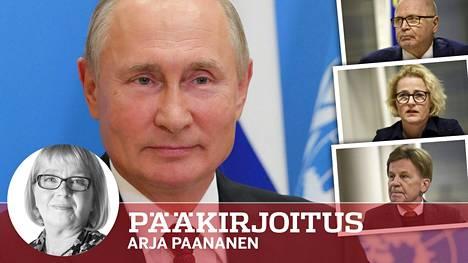 Venäjän presidentti Vladimir Putin puhui etäyhteydellä YK:n yleiskokoukselle viime tiistaina. Eero Heinäluoma (ylh.oik.), Miapetra Kumpula-Natri ja Mauri Pekkarinen (kesk) äänestivät tyhjää, kun Euroopan parlamentti hyväksyi päätöslauselman Venäjän oppositiojohtajan Aleksei Navalnyin myrkytyksen tuomitsemisesta.