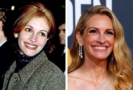 Säkenöivä hymy ei muutu! Julia Roberts vuonna 1997 ja 2019.
