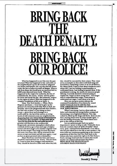Donald Trumpin ostama lehtimainos jossa vaadittiin kuolemantuomion palauttamista.