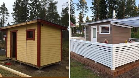 Pienkone- ja puutarhakalusteyrittäjä Vili-Santeri Heinonen remontoi vanhan varaston (vasemmalla) uuteen uskoon. Pihalla on nyt varsinainen vapaa-ajankeidas, jossa viihtyy koko perhe.
