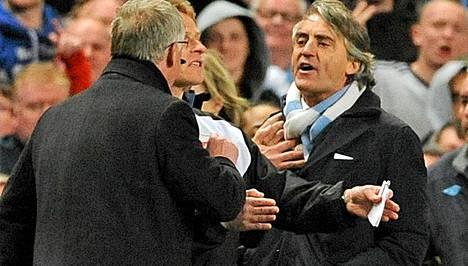 Sir Alex Ferguson ja Roberto Mancini ottivat yhteen viime keväänä.