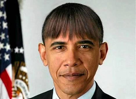Presidentti Barack Obama hauskuutti yleisöä kirjeenvaihtajien illallisella Valkoisessa talossa. Obaman puheen aikana näytettiin käsiteltyjä kuvia, joihin Obamalle oli lisätty samanlainen otsatukka kuin hänen vaimollaan Michellellä on.