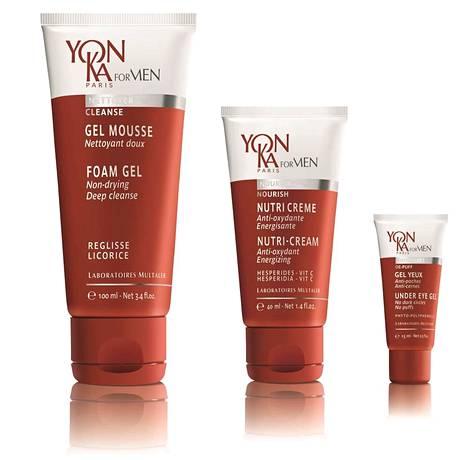 Yon-Ka for Men Foam Gel -puhdistusgeeli 30 €, Nutri-Cream-voide 46 € ja Under Eye Gel -silmänympärysgeeli 45 €, valtuutetuista Yon-Ka-hoitoloista kautta maan.