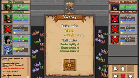 Taistelun voittamisesta palkitaan paitsi kullalla, myös gladiaattorien kykyjen kehittymisellä ja uusilla varusteilla.