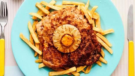 Havaijinleikkeen kaveriksi sopivat ranskalaiset perunat tai muusi.