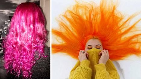 Miia värjää tukkaansa kotona. Hän pyytää aina ystävää levittämään värin päähän, jotta siitä tulee mahdollisimman tasainen.