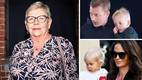 Paula Räikkönen (vas.) nauttii siitä, että saa auttaa perhettään ja sukulaisiaan ja viettää aikaa heidän kanssaan. Hänen silmäteriään ovat lapsenlapset Robin ja Rianna sekä Kimi Räikkösen Rami-veljen teini-ikäiset pojat.