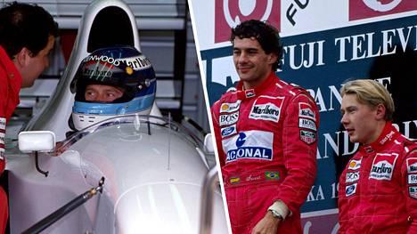Harvinainen kuva: Mika Häkkinen kokovalkoisen McLaren-Lamborghinin ratissa 1993. Häkkinen ajoi Ayrton Sennan tallikaverina.