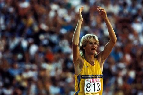 Sjöberg juhli urallaan muun muassa kolmea olympiamitalia. Kuva Los Angelesista 1984.