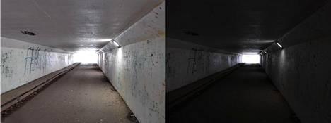 P30 Pron kameralla tallentuvat vahvat kontrastit että yksityiskohdat heikoissakin valossa. Kuvat on otettu samasta paikasta eri valotuspistettä käyttäen.