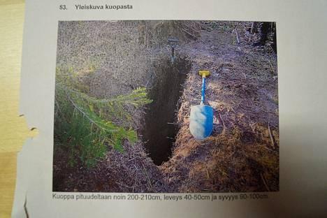 Ruumis kuljetettiin parin sadan kilometrin päähän Pohjois-Karjalaan ja haudattiin metsään.