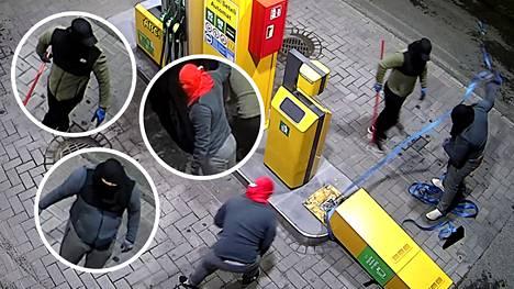 Kortti/käteisautomaatin anastus tallentui valvontakameraan Janakkalan Tervakoskella keskiviikkoyönä 4. elokuuta noin kello kahden aikaan.
