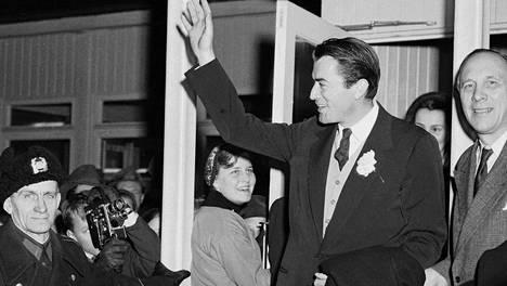 Amerikkalainen filmitähti Gregory Peck Suomen vierailulla 18. tammikuuta 1953.