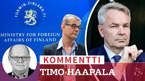 Ulkoministeriön konsulipäällikkönä työskennellyt ulkoasiainneuvos Pasi Tuominen ei jatka tehtävässä. Tiedossa ei ole, miksi ulkoministeri Pekka Haavisto (oik.) panee Tuomisen kiertoon.