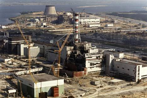 Tshernobylin ydinvoimala lokakuussa 1986.