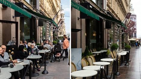 Syyskuussa 2020 ihmiset viettivät lämmintä syyspäivää Helsingin keskustassa. Syyskuussa 2021 eivät.