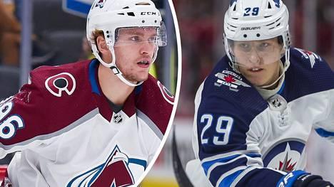 Mikko Rantanen (vas.) ja Patrik Laine mahtuivat NHL Networkin listauksessa sarjan 20 parhaan laitahyökkääjän joukkoon.