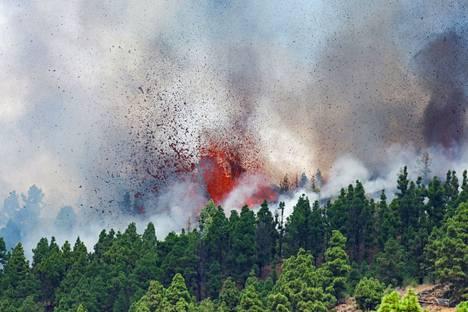 La Palman tulivuoren laavan juoksevuus näkyy kuvassa. Se ehkäisee räjähdysmäisen purkauksen syntymistä.